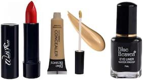 Blue Heaven Liquid Concealer 16 ml, Regular Black Eyeliner 7ml, Walkfree Red Lipstick 3 g Pack of 3
