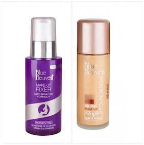 Blue Heaven Combo of Makeup Fixer Spray And Oil Free Foundation