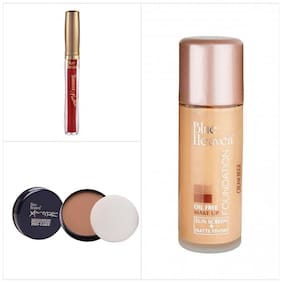 Blue Heaven Combo of Oil Free Foundation Pan Cake And Fashion Maroon Sindoor