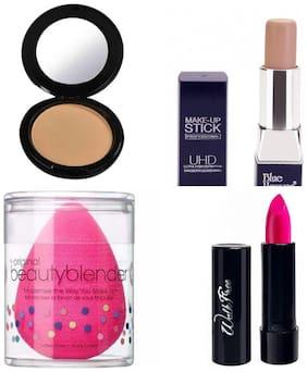 Blue Heaven Combo of Artisto Compact 12g,UHD Makeup Stick 8.5 g, Pink Walkfree Lipstick 2.5g, Beauty Blender Puff (Pack of 4)