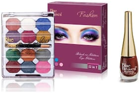 Blue Heaven Combo of 12 in 1 EyeShadow (10 g)and Maroon Sparkling Eyeliner Shade10(6 ml)