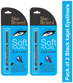 Blue Heaven Pack of 2 Soft Black Kajal Eyeliners(Black)0.31 g each