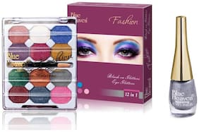 Blue Heaven Combo of 12 in 1 EyeShadow(10 g) and Silver Sparkling Eyeliner Shade11(6 ml)