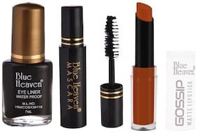Blue Heaven Classic Eyeliner 7ml, Classic Mascara 6.5ml & Gossip Matte Lipsticks 3.5 g Shade #2 (Brown)