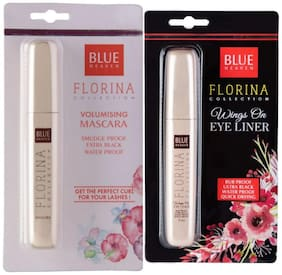 Blue Heaven Combo of Florina EyeLiner and Mascara(7 ml each) (Pack of 2)