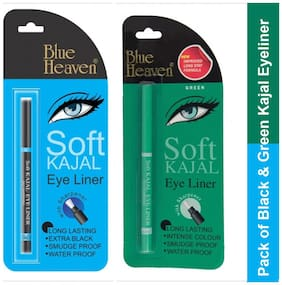 Blue Heaven Combo of 2 Soft Kajal Eyeliner (Black and Green)