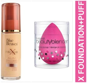 Blue Heaven Combo of X Factor Foundation 30ml and Beauty Blender Puff 20 g (Pack of 2)