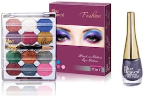 Blue Heaven Combo of 12 in 1 EyeShadow(10 g) and Grey Sparkling Eyeliner Shade12(6 ml)