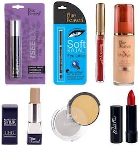 Blue Heaven 2in1 Eyeliner (2.5 ml) Mascara 7.5 ml Fashion Sindoor 3 ml X Factor Foundation 30 ml UHD Makeup-Stick 8.5 g UHD Compact (10 g) Walk Free Lipstick (3 g) Shade#1 (Red) (Pack of 7)