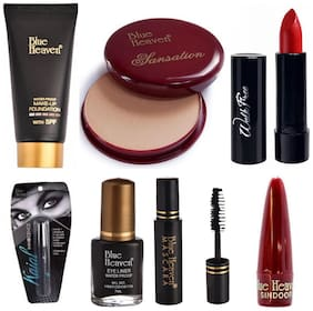 Blue Heaven Tube Foundation (50 ml),Compact (10 g),Lipstick (3 g) Shade#1 (Red),Kajal (0.80 g),Mascara (6.5 ml),Eyeliner (7 ml) Sindoor Stick (2 g) (Pack of 7)