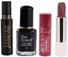 Blue Heaven Pack of Regular Eyeliner 7ml,Regular Mascara 5ml and Artisto Arabian Night Lipstick 3gm