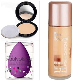 Blue Heaven Combo of Artisto Compact Oil Free Foundation And Beauty Blender