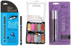 Blue Heaven Soft Kajal 0.31 g 10 in 1 Eyeshadow (10 g) 2in1 Eyeliner (2.5 ml) Mascara 7.5 ml (Pack of 3)