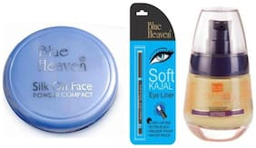 Blue Heaven Combo of Silk On Face Compact Soft Kajal Eyeliner And Florina Foundation