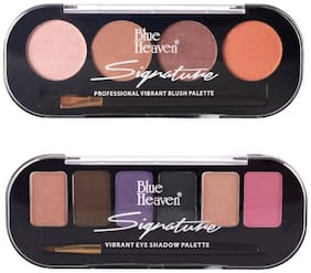 Blue Heaven Combo of Signature Blush on Palette Shade 1(8 g) and Eyeshadow Palette shade5(12 g) (Pack of 2)