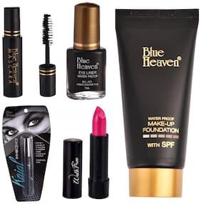 Blue Heaven Tube foundation 50ml, Innocence kajal 1g, 1 Walkfree Lipstick 2.5g(Pink), Eyeliner 7ml, Mascara 7ml