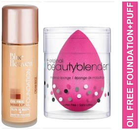 Blue Heaven Combo of Oil Free Foundation 30ml and Beauty Blender Puff 20 g (Pack of 2)
