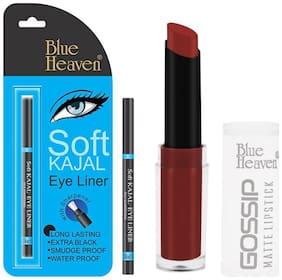 Blue Heaven Combo of Soft Black Kajal and Gossip Lipstick(Shade9)