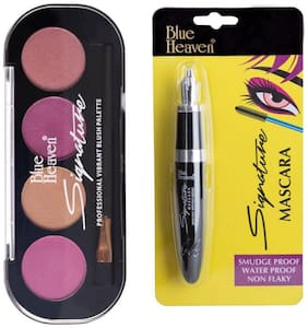 Blue Heaven Combo of Signature Blush on Palette Shade 4 (8 g) and Signature Mascara(10 ml) (Pack of 2)