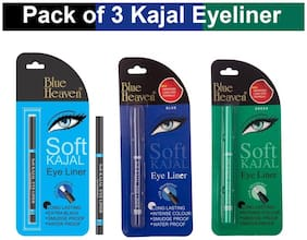 Blue Heaven Combo of 3 Soft Kajal Eyeliners (Black Blue and Green)