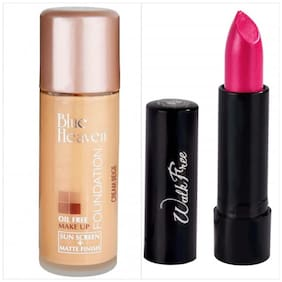 Blue Heaven Combo Of Oil Free Foundation And Walkfree Lipstick100g