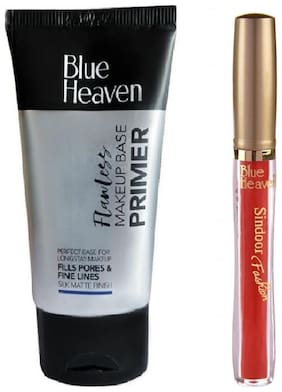 Blue Heaven Combo of Primer 30g and Red Fashion Sindoor 6.5 ml (Pack of 2)