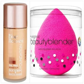 Blue Heaven Combo of Oil Free Foundation And Beauty Blender Puff