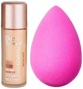 Blue Heaven Oil Free  Foundation 30 ml & 1 Makeup Puff 1.50 g