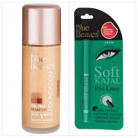Blue Heaven Combo of Oil Free Foundation And Green Soft Kajal