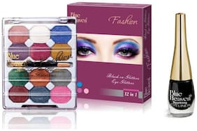 Blue Heaven Combo of 12 in 1 EyeShadow(10 g) and Black Sparkling Eyeliner Shade4(6 ml)