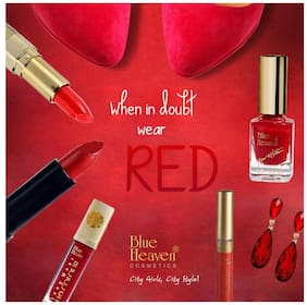 Blue Heaven Combo Of 2 Red Lipsticks Red Lipgloss Maroon Sindoor And Red Nail Lusture