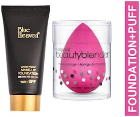 Blue Heaven Combo of Water Proof  Foundation 50ml and Beauty Blender Puff 20 g (Pack of 2)