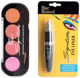 Blue Heaven Combo of Signature Blush on Palette Shade 2(8 g) and Signature Eyeliner(12 g) (Pack of 2)