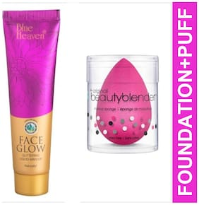 Blue Heaven Combo of Face Glow Foundation 50ml and Beauty Blender Puff 20 g (Pack of 2)