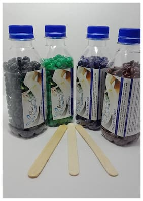 Bluejack Natural Beans Stripless Wax Green,Blue,Black,Chocolate 100g (Pack of 4)