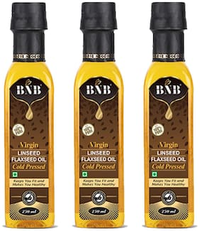 BNB Virgin Flaxseed Oil(250 ML) | Linseed Seed Oil | Cold Pressed | 100%pure | 100% Natural with rich in Fibre & Omega-3| 3 Pack combo super saver pack(750 ML)