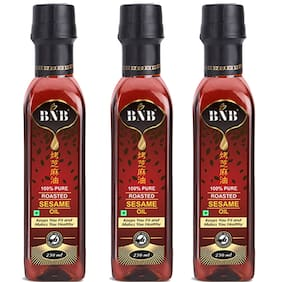 BNB Roasted Sesame Oil (250 ML)| Toasted Sesame Oil |Great for Stir Fry Curries Noodles or as a Marinade|Salad Dressing| 100% Pure|Premuim 3 pack combo super saver pack(750 Ml)