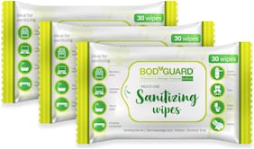 BodGuard Anti Bacterial Disinfectant Sanitizing Wipes, Alcohol Free - 30 Wipes (Pack of 3)