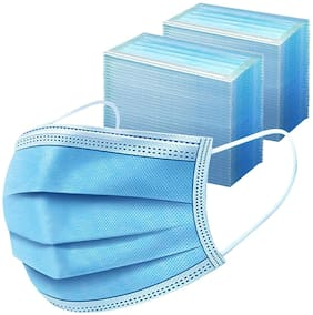 Body Safe 3 Ply Disposable Surgical Face Mask Protective layer (Pack of 50) For Men And Women Use and Throw Face Masks