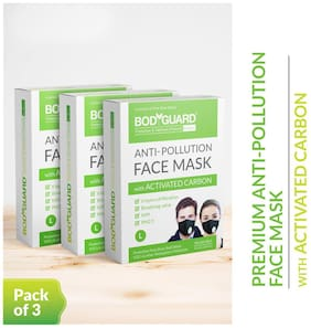 BodyGuard Reusable Anti Pollution Face Mask with Activated Carbon;N99 + PM2.5 for Men and Women - (Large) Pack of 3