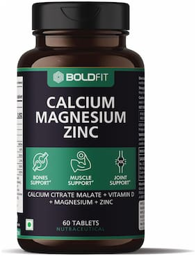Boldfit calcium supplement 1000mg for women and men with Magnesium, Zinc, Vitamin D and B12. Ideal for bone and joint support. 60 Vegetarian tablets
