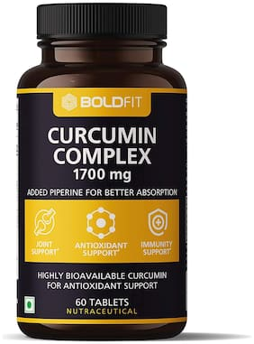 Boldfit Curcumin Complex Supplements 1700 Mg With Piperine 10 Mg For Better Absorption, Curcumin With Turmeric, Ginger Root Extract For Immunity, Antioxidant & Joint Support - 60 Veg Tablets