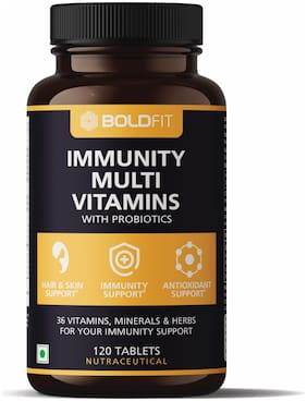 Boldfit Immunity booster Supplements with Vitamin C, Zinc, Turmeric, Cinnamon & Elderberry Extract for Immunity Boost, Antioxidant & Wellness Support Tablets (60 Tablets)