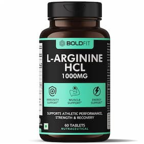 Boldfit L Arginine 1000mg Supplement, Nitric Oxide Supplement for Muscle Growth, Stamina, Recovery, Immune Booster and Energy - 60 Tablets