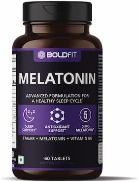 Boldfit Melatonin 5mg with Tagara 125mg Helps support healthy sleep cycle (60 Veg Tablets)