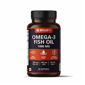 Boldfit Omega 3 Fish Oil 1000mg supplements, Supports Heart, Brain, Joints & Skin with EPA 180 mg & DHA 120 mg for men and women - 60 Softgel Capsules