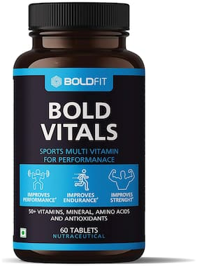 Boldfit Sports multivitamin supplements for men enriched with over 55 Vitamins, Minerals, Amino Acids & Anti oxidants for Immunity, Minerals for Energy, bodybuilding & Athletes (60 Veg Tablets)