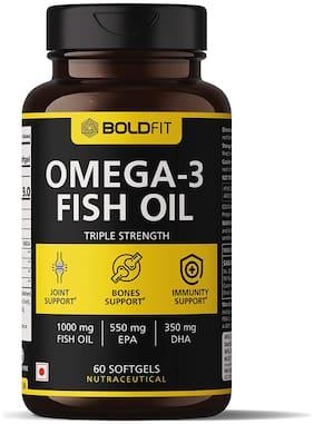 Boldfit Triple Strength Fish Oil Supplement (550 Mg EPA & 350 Mg DHA) Omega 3 For Brain, Bones & Joint Support - 60 Softgels
