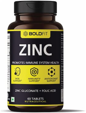Boldfit Zinc Supplement, 84 Mg Zinc Gluconate | Immunity Booster, antioxidant, recovery & Skin Support for women and men - 60 Vegetarian Tablets
