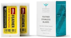 Bombay Shaving Company Feather Razor Blades,Platinum Coated 20 pcs